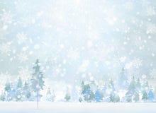 Scena di inverno di vettore con il fondo della foresta Immagini Stock Libere da Diritti