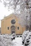 Scena di inverno - le precipitazioni nevose Immagine Stock