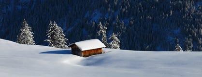 Scena di inverno nel Bernese Oberland, Svizzera Landscap della neve Immagini Stock