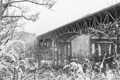 Scena di inverno - ponte di traghetto delle argille - 75 da uno stato all'altro - fiume del Kentucky - il Kentucky Fotografie Stock