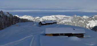 Scena di inverno sul Mt Wispile, alpi svizzere Fotografia Stock Libera da Diritti