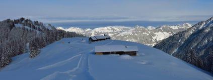 Scena di inverno in Svizzera Paesaggio nel Bernese Oberland Fotografie Stock