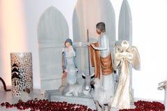Scena di legno di natività di Maria, di Joseph e di Gesù Fotografie Stock Libere da Diritti