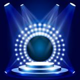 Scena di manifestazione di TV con il cerchio delle luci - podio per il premio illustrazione vettoriale