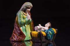 Scena di Natale con Gesù e Maria Immagine Stock
