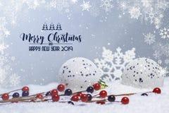Scena di Natale con gli ornamenti sulla neve con il confine dei fiocchi di neve fotografie stock libere da diritti