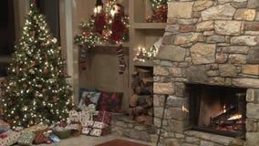 Scena di Natale dal fuoco stock footage