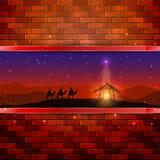 Scena di Natale sul fondo del muro di mattoni Fotografie Stock Libere da Diritti