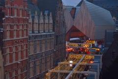 Scena di Natale: Vista molto rara dell'alloggio della città di Gand Fotografia Stock Libera da Diritti