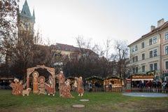 Scena di natività al quadrato di Città Vecchia a Praga Immagini Stock