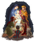 Scena di natività con Gesù, Maria, Joseph e shephe Fotografia Stock Libera da Diritti