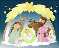 Scena di natività con la famiglia santa illustrazione di stock