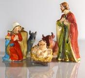 Scena di natività con la madre Maria e Joseph di Gesù del bambino Fotografie Stock Libere da Diritti