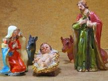 Scena di natività con la madre Maria e Joseph di Gesù del bambino Fotografia Stock Libera da Diritti