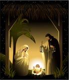 Scena di natività di natale con la famiglia santa illustrazione vettoriale