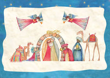 Scena di natività di natale Gesù, Maria, Joseph Fotografia Stock Libera da Diritti