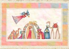 Scena di natività di natale Gesù, Maria, Joseph Fotografia Stock