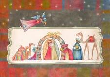 Scena di natività di natale Gesù, Maria, Joseph Fotografie Stock Libere da Diritti