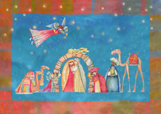 Scena di natività di natale Gesù, Maria, Joseph Immagini Stock