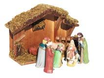 Scena di natività di Natale rappresentata statuette di Maria, di Joseph e del bambino Gesù Immagine Stock Libera da Diritti