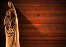 Scena di natività di Natale sulla parete di legno Immagine Stock