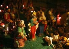 Scena di natività di Natale con i tre saggi Fotografia Stock