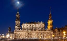 Scena di Nigt con il castello a Dresda Fotografie Stock