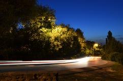 Scena di Nigth con la strada Fotografia Stock