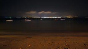 Scena di notte alla spiaggia Fotografie Stock