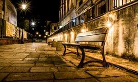 Scena di notte Banco della via Immagine Stock