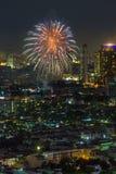 Scena di notte dei fuochi d'artificio Immagine Stock