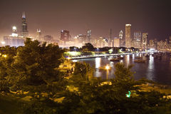 Scena di notte del Chicago fotografie stock libere da diritti