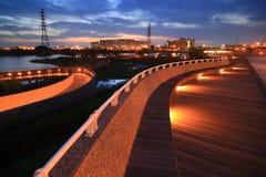 Scena di notte del complesso industriale di tecnologia di Tainan fotografia stock libera da diritti