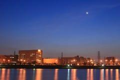 Scena di notte del complesso industriale di tecnologia, Taiwan fotografie stock libere da diritti