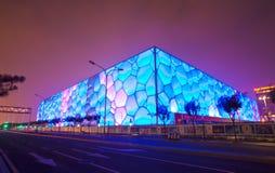 Scena di notte del cubo dell'acqua Fotografia Stock Libera da Diritti