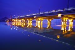 Scena di notte del ponticello di Lihu Fotografia Stock