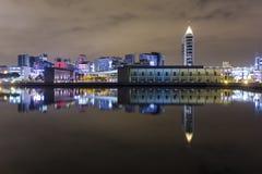 Scena di notte dell'Expo di Parque a Lisbona Fotografia Stock