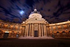 Scena di notte dell'istituto francese, cupola famosa a Parigi fotografia stock libera da diritti