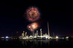 Scena di notte della centrale elettrica. Immagine Stock