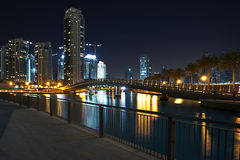 Scena di notte della Doubai Fotografie Stock