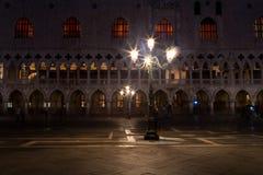 Scena di notte della piazza San Marco, Venezia Fotografia Stock