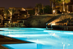 Scena di notte della piscina Fotografie Stock