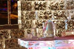Scena di notte della scultura di ghiaccio Fotografie Stock