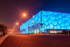Scena di notte della strada del cubo dell'acqua di Pechino Fotografia Stock