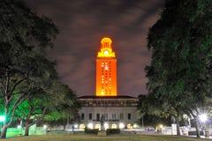 Scena di notte della torre di UT, Austin, il Texas Immagini Stock