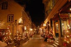 Scena di notte della via Petit di Champlain Immagine Stock