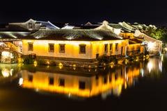 Scena di notte di costruzione antica in Wuzhen La Cina Fotografie Stock