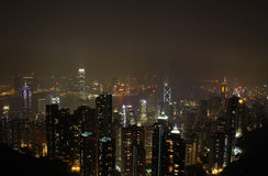 Scena di notte di Hong Kong Fotografie Stock