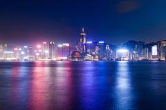 Scena di notte di Hong Kong Island Immagini Stock Libere da Diritti