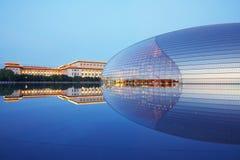 Scena di notte di NCPA, Pechino fotografia stock